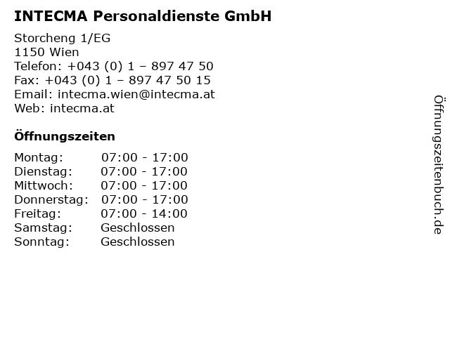 INTECMA Personaldienste GmbH in Wien: Adresse und Öffnungszeiten