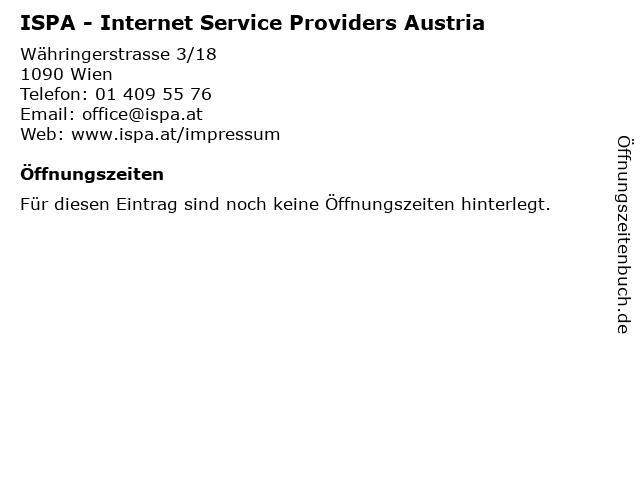 ISPA - Internet Service Providers Austria in Wien: Adresse und Öffnungszeiten