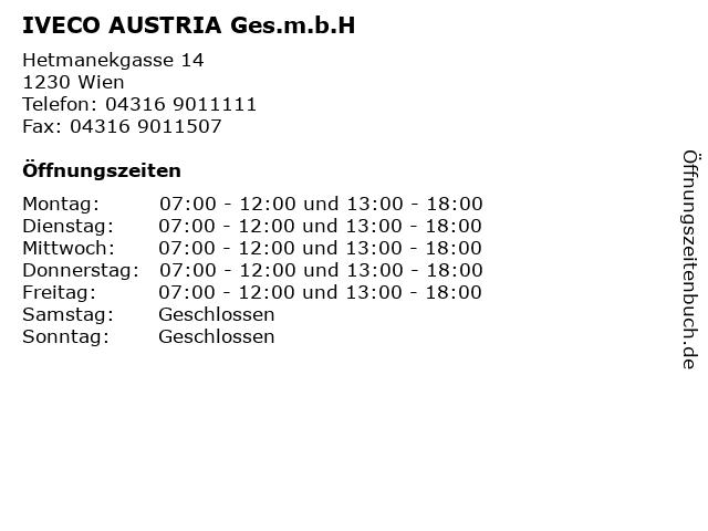 IVECO AUSTRIA Ges.m.b.H in Wien: Adresse und Öffnungszeiten