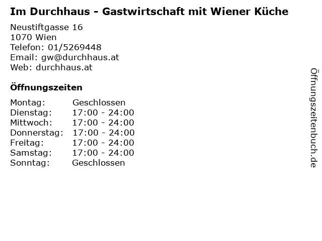 Im Durchhaus - Gastwirtschaft mit Wiener Küche in Wien: Adresse und Öffnungszeiten