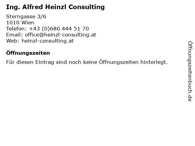 Ing. Alfred Heinzl Consulting in Wien: Adresse und Öffnungszeiten