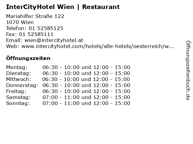 InterCityHotel Wien | Restaurant in Wien: Adresse und Öffnungszeiten