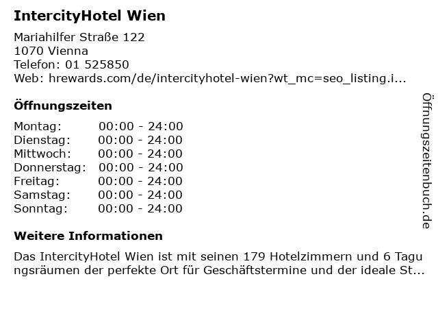 IntercityHotel Wien in Wien: Adresse und Öffnungszeiten