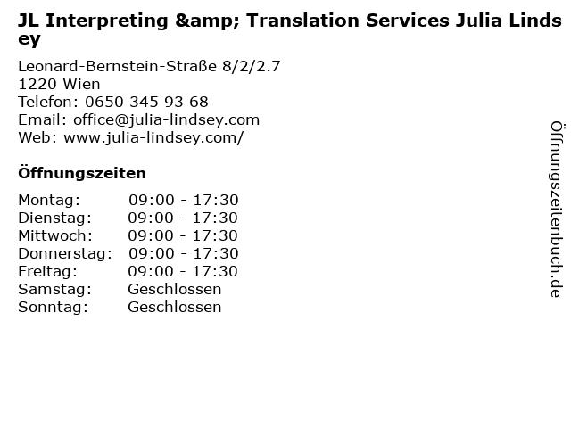 JL Interpreting & Translation Services Julia Lindsey in Wien: Adresse und Öffnungszeiten