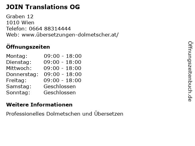 JOIN Translations OG in Wien: Adresse und Öffnungszeiten