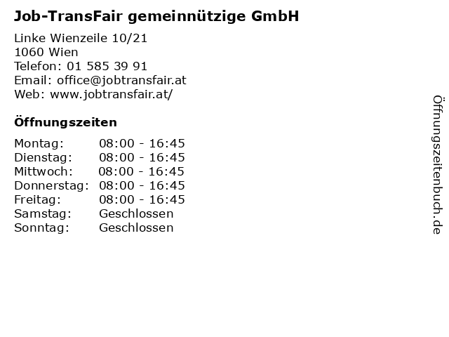 Job-TransFair gemeinnützige GmbH in Wien: Adresse und Öffnungszeiten