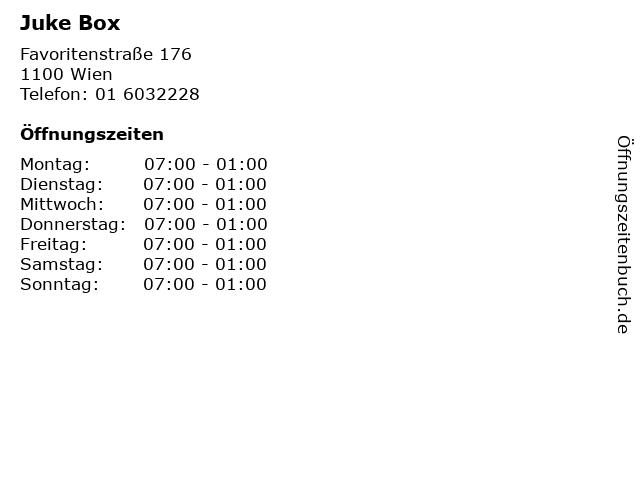 Juke Box in Wien: Adresse und Öffnungszeiten