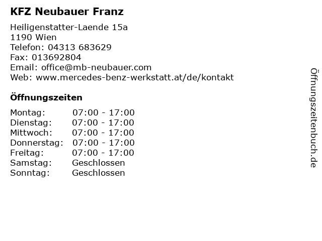 KFZ Neubauer Franz in Wien: Adresse und Öffnungszeiten