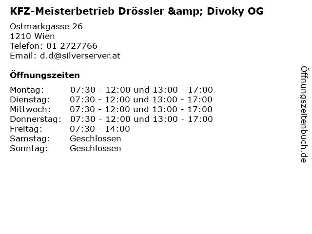 KFZ-Meisterbetrieb Drössler & Divoky OG in Wien: Adresse und Öffnungszeiten