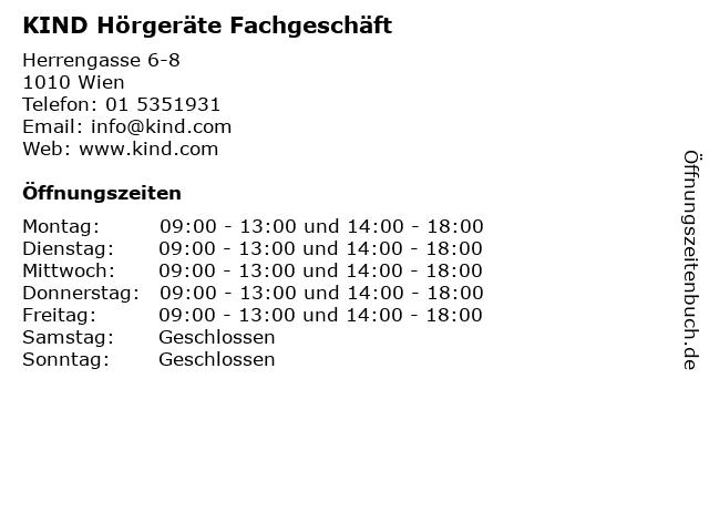KIND Hörgeräte Fachgeschäft in Wien: Adresse und Öffnungszeiten