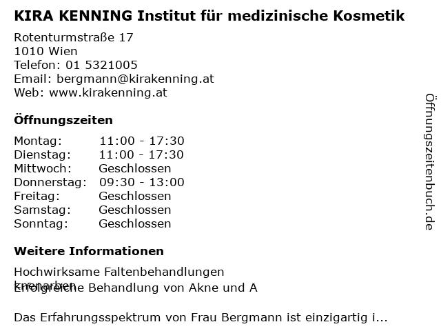 KIRA KENNING Institut für medizinische Kosmetik in Wien: Adresse und Öffnungszeiten