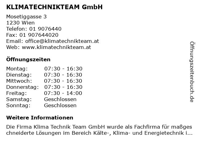 KlimaTechnikTeam GmbH in Wien: Adresse und Öffnungszeiten