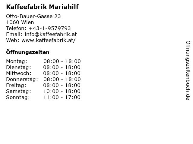 Kaffeefabrik Mariahilf in Wien: Adresse und Öffnungszeiten