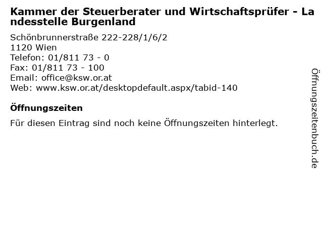 Kammer der Steuerberater und Wirtschaftsprüfer - Landesstelle Burgenland in Wien: Adresse und Öffnungszeiten