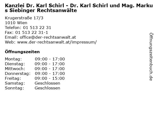 Kanzlei Dr. Karl Schirl - Dr. Karl Schirl und Mag. Markus Siebinger Rechtsanwälte in Wien: Adresse und Öffnungszeiten