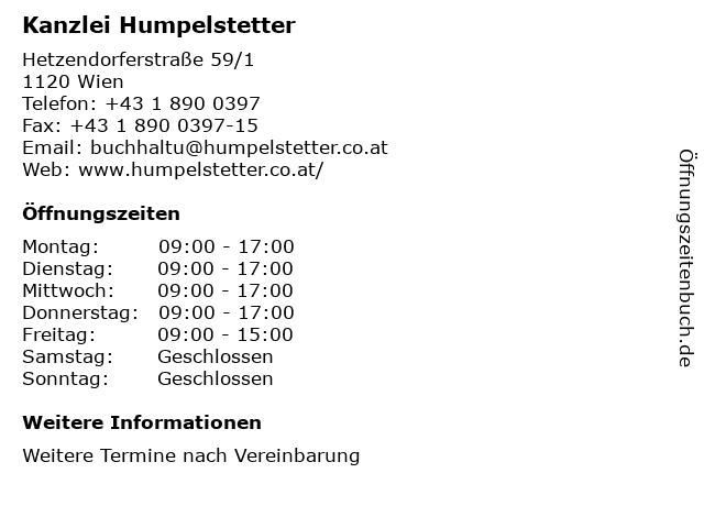 Kanzlei Humpelstetter in Wien: Adresse und Öffnungszeiten
