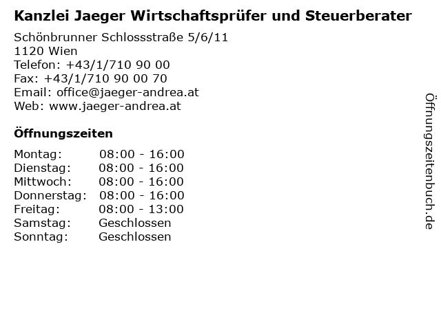 Kanzlei Jaeger Wirtschaftsprüfer und Steuerberater in Wien: Adresse und Öffnungszeiten