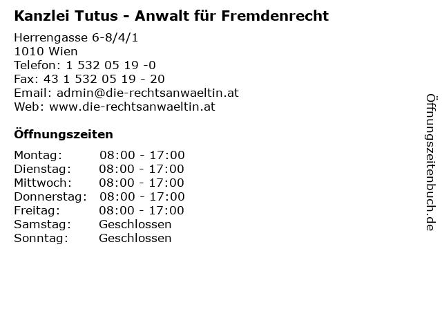 Kanzlei Tutus - Anwalt für Fremdenrecht in Wien: Adresse und Öffnungszeiten