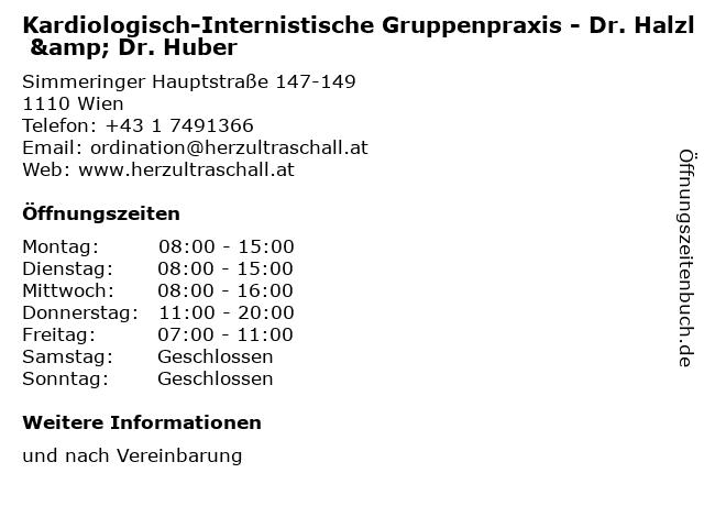 Kardiologisch-Internistische Gruppenpraxis - Dr. Halzl & Dr. Huber in Wien: Adresse und Öffnungszeiten