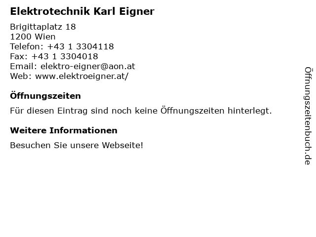 Elektrotechnik Eigner Karl in Wien: Adresse und Öffnungszeiten