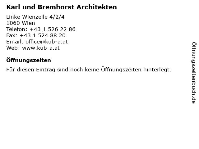 Karl und Bremhorst Architekten in Wien: Adresse und Öffnungszeiten