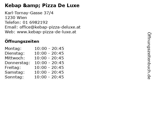 Kebap & Pizza De Luxe in Wien: Adresse und Öffnungszeiten