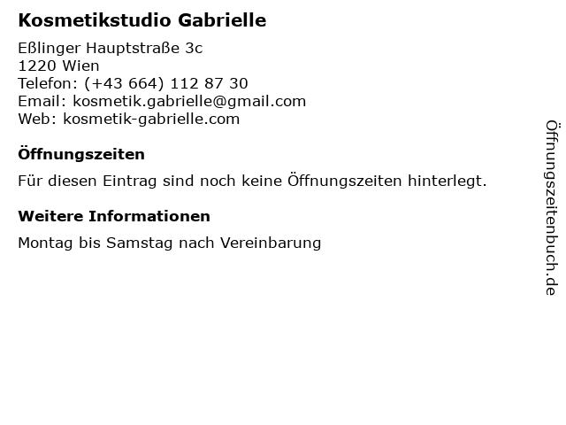 Kosmetikstudio Gabrielle in Wien: Adresse und Öffnungszeiten