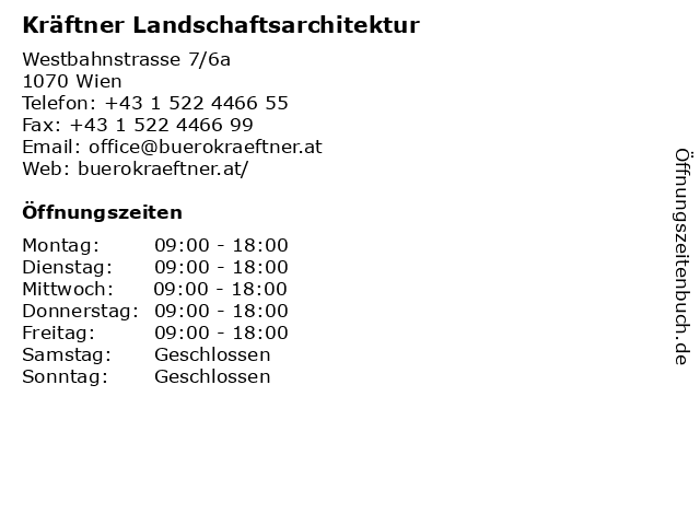 Kräftner Landschaftsarchitektur in Wien: Adresse und Öffnungszeiten