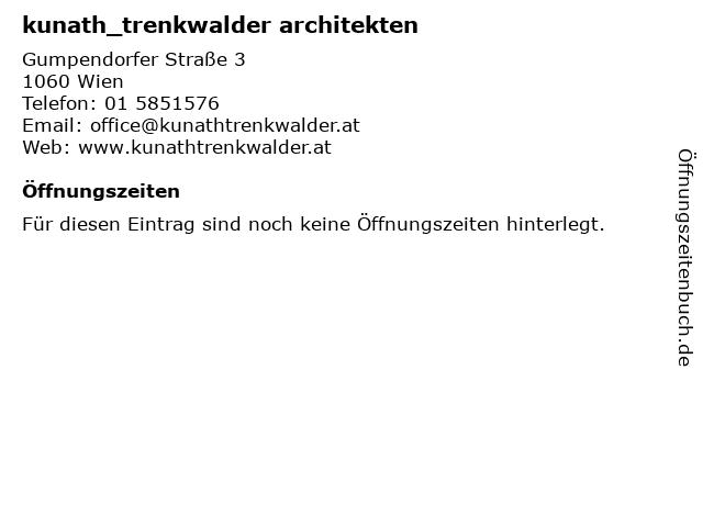 Kunath Trenkwalder Architekten in Wien: Adresse und Öffnungszeiten