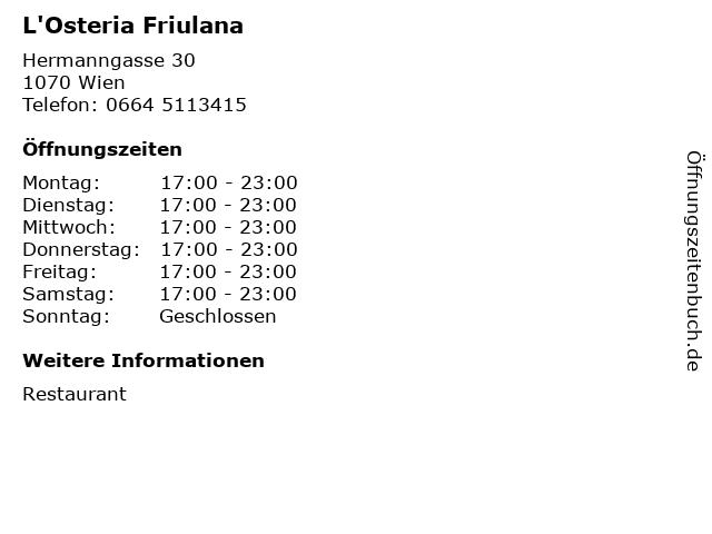 L'Osteria Friulana in Wien: Adresse und Öffnungszeiten