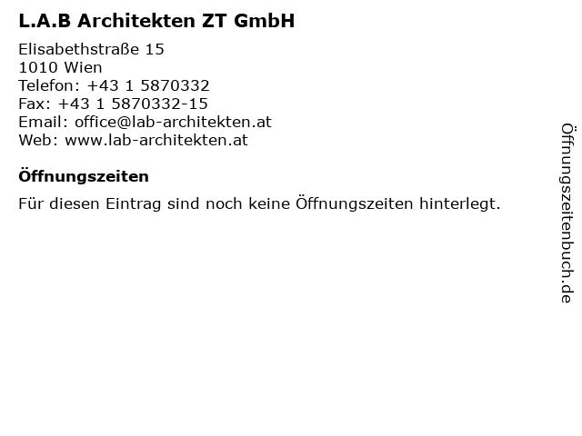 L.A.B Architekten ZT GmbH in Wien: Adresse und Öffnungszeiten