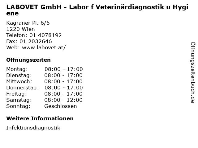 LABOVET GmbH - Labor f Veterinärdiagnostik u Hygiene in Wien: Adresse und Öffnungszeiten