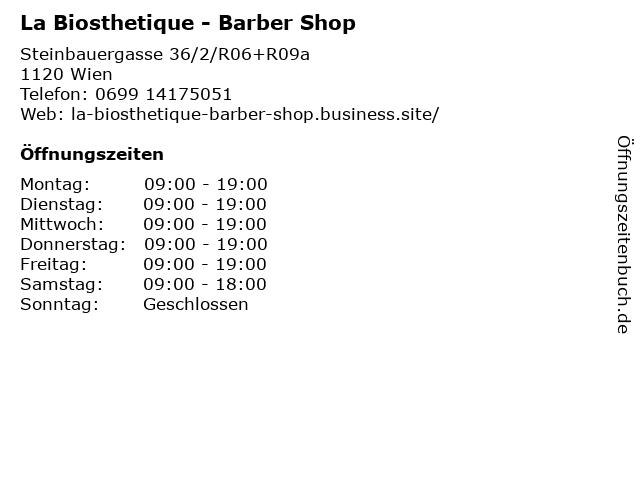 La Biosthetique - Barber Shop in Wien: Adresse und Öffnungszeiten