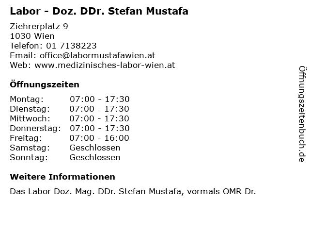 Labor - Doz. DDr. Stefan Mustafa in Wien: Adresse und Öffnungszeiten