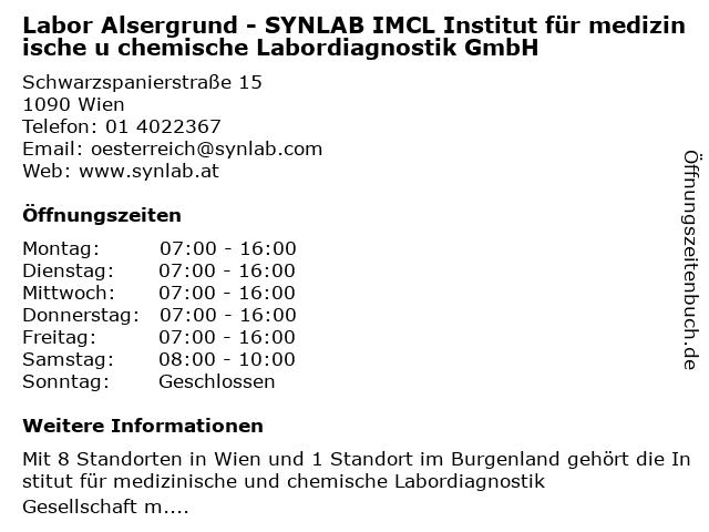 Labor Alsergrund - SYNLAB IMCL Institut für medizinische u chemische Labordiagnostik GmbH in Wien: Adresse und Öffnungszeiten