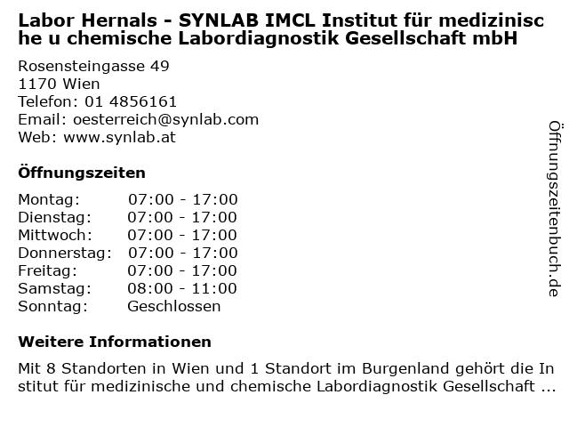 Labor Hernals - SYNLAB IMCL Institut für medizinische u chemische Labordiagnostik Gesellschaft mbH in Wien: Adresse und Öffnungszeiten