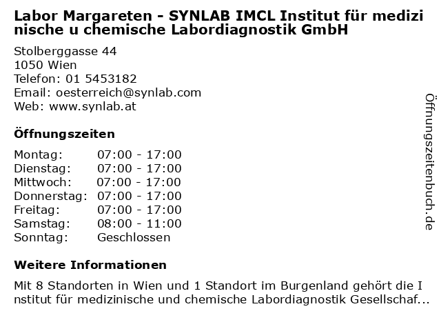 Labor Margareten - SYNLAB IMCL Institut für medizinische u chemische Labordiagnostik GmbH in Wien: Adresse und Öffnungszeiten