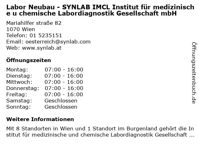 Labor Neubau - SYNLAB IMCL Institut für medizinische u chemische Labordiagnostik Gesellschaft mbH in Wien: Adresse und Öffnungszeiten