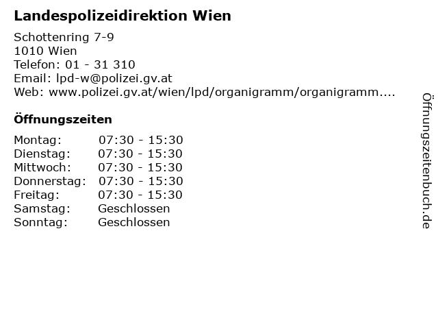 ᐅ öffnungszeiten Landespolizeidirektion Wien Schottenring 7 9