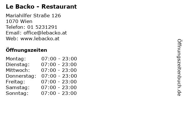 Le Backo - Restaurant in Wien: Adresse und Öffnungszeiten
