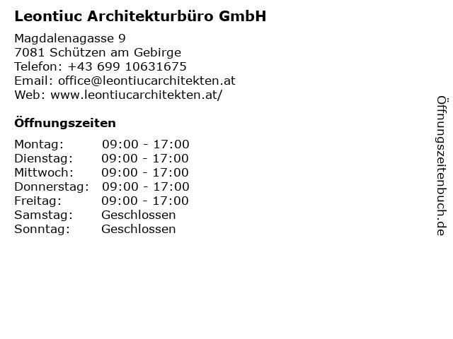 Leontiuc Flaviu Cristian Architecture in Wien: Adresse und Öffnungszeiten