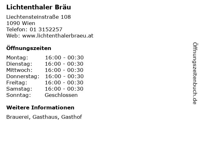 ᐅ öffnungszeiten Lichtenthaler Bräu Liechtensteinstraße 108 In Wien