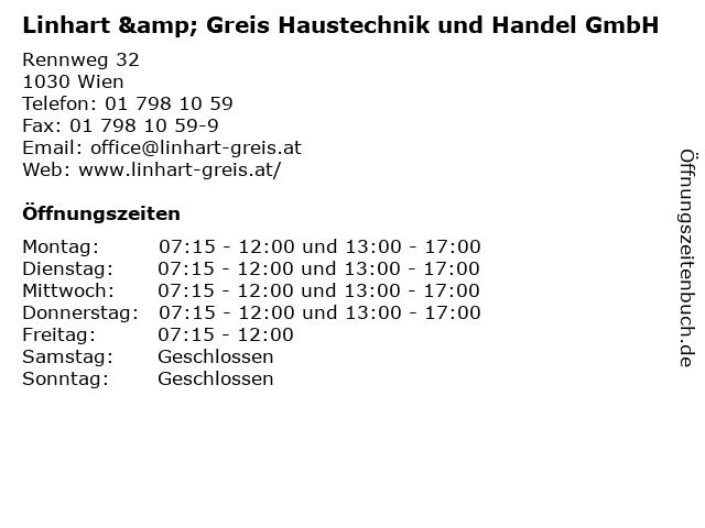 Linhart & Greis Haustechnik und Handel GmbH in Wien: Adresse und Öffnungszeiten