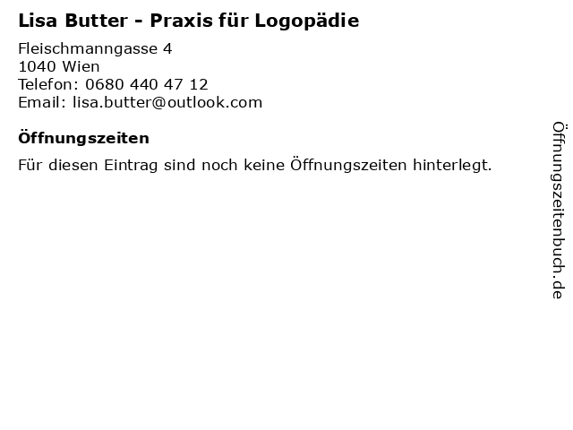 Lisa Butter - Praxis für Logopädie in Wien: Adresse und Öffnungszeiten