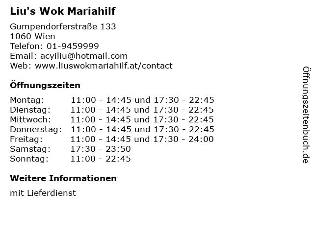 Liu's Wok Mariahilf in Wien: Adresse und Öffnungszeiten