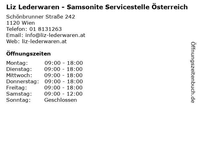 Liz Lederwaren - Samsonite Servicestelle Österreich in Wien: Adresse und Öffnungszeiten