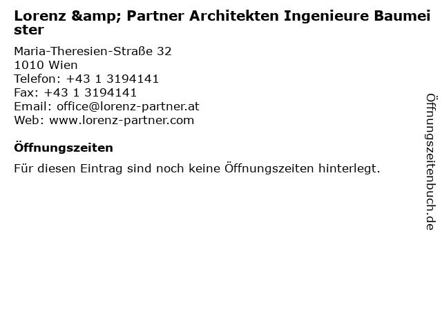 Lorenz & Partner Architekten Ingenieure Baumeister in Wien: Adresse und Öffnungszeiten