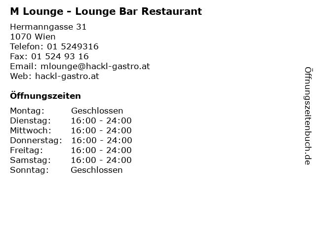 M Lounge - Lounge Bar Restaurant in Wien: Adresse und Öffnungszeiten