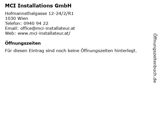 MCI Installations GmbH in Wien: Adresse und Öffnungszeiten