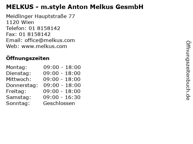 MELKUS - m.style Anton Melkus GesmbH in Wien: Adresse und Öffnungszeiten